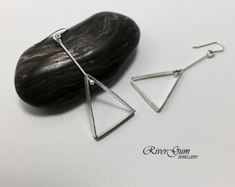Sterling Silver Earrings, Triangle Earrings, Geometric Earrings, Modern, Minimalist, Handmade by RiverGum Jewellery