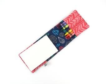 Mini Crayon Notebook - What a Gem - twistable crayon holder, kids journaling, art party favor, heart valentine gift