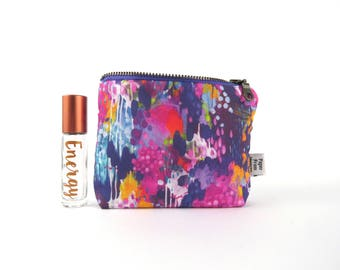 Ity-Bity Zipper Pouch - Painterly - mini change pouch essential oil bag Zip Wallet Money Wallet Change Purse roller bottle case