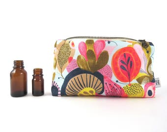 Essential Oil Case - Water Flower - cosmetic bag zipper pouch essential oil bag READY TO SHIP
