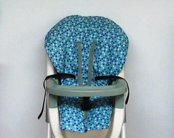 Graco high chair cover, chair cushion, kids and baby feeding chair, baby accessory, chair pad replacement, nursery, child care, dots on blue