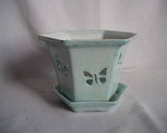 Ceramic Orchid Pot / Planter With Butterflies / Mother of Pearl