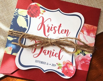 Navy and Red Floral Wedding Invitation, Pocket Wedding Invitation, Flower wedding invitation, Summer Wedding, Rustic Wedding Invite