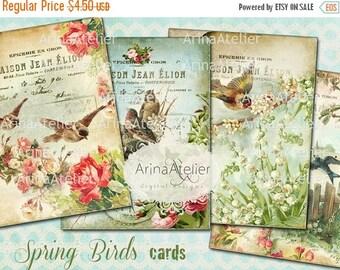 SALE - 30%OFF - Spring Birds Cards - 3,5 x 4,5 inch - Set of 4 cards - digital spring Collage Sheet - Scrapbooking - Vintage Collage Images