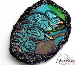 Textile Art Pin Chameleon