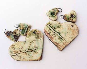 Clay Heart with Roots, Branches, Textured Bead Set, Large Scale Bead, Pendant, Necklace and Earring Blanks