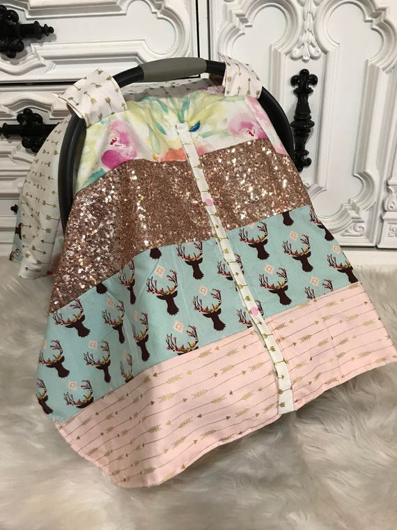 car seat canopy , bohemian princess patch work , ready to ship today