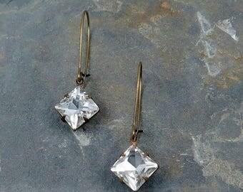 SALE 50% off Crystal Bridesmaid Earrings, Rhinestone Dangle Earrings, Vintage Bride, Dangle Earrings, Bridesmaid Gift