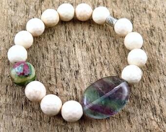 Bone Beaded Bracelet, Ruby Zoisite, Fluorite Bracelet, Boho Bracelet, Bohemian Jewelry, Purple and Green,Hill Tribe Sterling