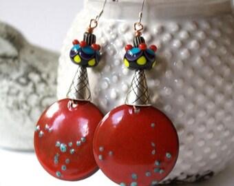 SALE Unique Red Earrings, Copper Enamel Earrings, Colorful Earrings, Boho Chic Earrings, Lampwork Glass Bead Earrings, Artisan Enamel Jewelr