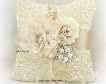 Wedding Ring Pillow, Champagne, Gold, Tan, Cream, Ivory, Lace Ring Pillow, Vintage Wedding, Gatsby, Elegant, Brooch, Crystals, Pearls