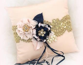 Wedding Ring Pillow Navy Blue Blush Pink Gold, Vintage Style Ring Bearer Pillow Ring Cushion