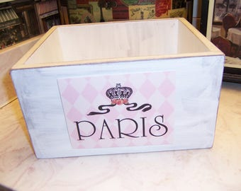 Paris crown storage box,Paris decor,Paris theme,Paris nursery decor,Paris bedroom decor,Paris girls room,Paris party decor,Paris bathroom