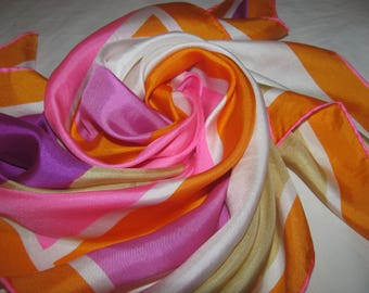 Vintage Square Vera Neumann Scarf - Stripes/Mountain Horizon Design - Pink, Purple, Gold Colourway