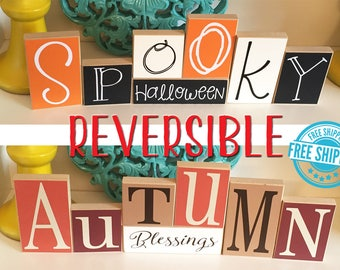 Halloween and Fall Reversible Blocks- Halloween Decor, Halloween Blocks, Halloween Sign, Autumn Decor, Fall Decor, Autumn Blocks, Fall Sign