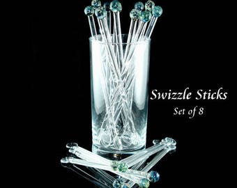 Swizzle Sticks Glass Drink Stirrer - Coffee Stirrer - Glass Swizzle Sticks - Boro - Lampwork Glass - Aquatic Blue - Set of 8