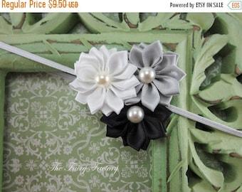 Satin Flower Headband - Silvery Gray, Black, & White Satin Flower Trio w/ Pearls Headband - The Emily - Baby Toddler Child Girls Headband