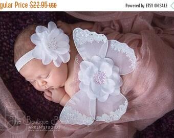Baby Butterfly Wings & Headband Set, Luxe Newborn Baby Wings, Baby Girl, Angel White Wings, Sequin Wing Set, Infant Wings, Flower Headband