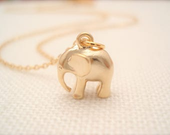 Elephant with Gold filled chain Necklace...Simple everyday, layering, Delicate minimalist jewelry, wedding, bridesmaid gift