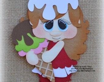 Ice cream girl Premade Scrapbooking Embellishment Paper Piecing
