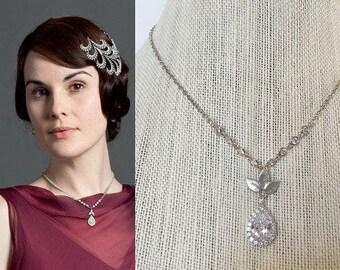 Lady Mary Crawley Downton Abbey Crystal Cubic Zirconia Leaves Teardrop Halo Art Deco Necklace