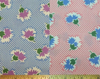 Judie Rothermel Reproduction 30's Fabrics Marcus Bro. Aunt Grace Pink OR Blue 1 Yard