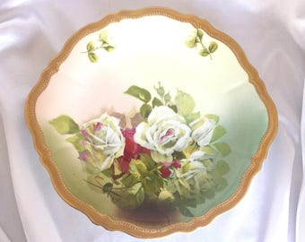 Antique O & EG Royal Austria Hand Painted Porcelain Rose Decorative Plate