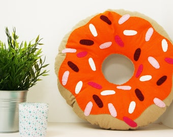 Large Bright Orange Doughnut Cushion, ring donut pillow, plush donut, plush doughnut, food pillow, kids bedroom decor, circle throw pillow