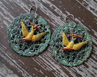 Rustic Filigree Earrings - Sparrow Earrings - Large Earrings - Turquoise Patina - Yellow and Turquoise - Bead Soup Jewelry