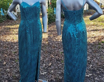 Sequin Evening Gown, NWT, Vintage Dress, Jade Green Dress, 80s Dress, 80s Prom Dress, 80s Costume, Vintage Costume, Spaghetti Straps
