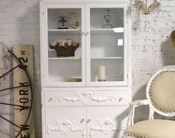 Painted Cottage Chic Shabby White Romantic French China Cabinet CC1009