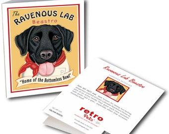 "Black Labrador Cards  ""Ravenous Lab"" 6 Small Greeting Cards by Krista Brooks"