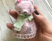 3 inch Artist Handmade Pocket Sized Miniature Blythe Friend Teddy Bear Noa  by Sasha Pokrass
