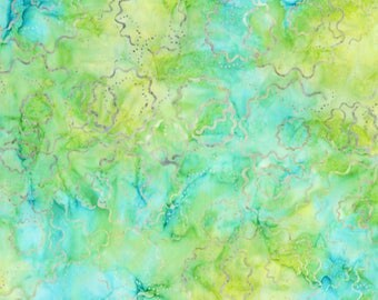Wilmington Prints - Batavian Batik - Puzzle Rounds - Green/Yellow - Fabric by the Yard 22113-574