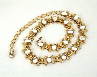 Gold chain belt with glass cabochans 1980s holiday glam belt Size S/M