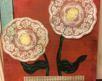 Vintage Doily Dollies- Mixed Media Artwork