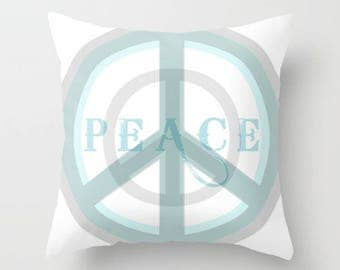 Peace Decor, Square Throw Pillow, Peace Pillow, Peace Symbol, Bed Decor, Cottage Home, Aqua and Gray Pillow, Peace Sign, White Pillow