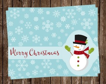 Snowman Christmas Cards, Happy Holidays, Blue, Red, Green, Customizable, Snowflakes, Set of 24 Printed Cards, FREE Shipping, Let It Snow
