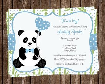 Panda Baby Shower Invitations, Baby Panda, Little Bear, Panda Bear, Baby Sprinkle, Chevron, Blue, 10 Printed Invites, FREE Shipping