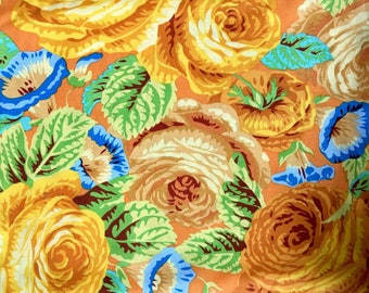 Philip Jacobs OOP, rare, Glory Rose, yellow, Kaffe Fassett OOP floral fabric, by the yard