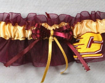 Central Michigan Chippewas Wedding Garter SET *TOSS not pictured* , Handmade, Can Be Personalized
