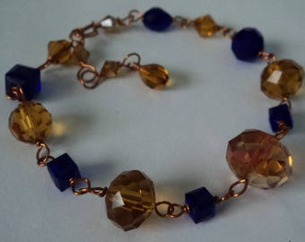 OOAK Royal Blue &  Champagne-Colored Crystals Adjustable Bracelet Wire-Wrapped