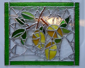 Stained Glass Panel Branch with Leaves and Lemons-Handmade-Glass Art-House Warming-Anniversary-Birthday-Unique Gift-Home Decor-Christmas