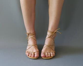 Michael Kors tan leather laced up sandals   1990's by cubevintage   size 39 1/2