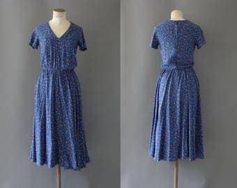 Pétale d'automne dress | Blue cotton dress with leaf print | 1960's by cubevintage | medium