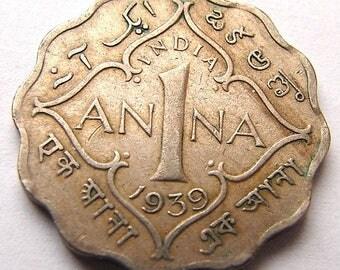 1939 BRITISH INDIA 1 Anna British colony George VI Scalloped Coin Charm Pendant