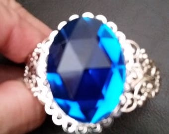 Gorgeous Sapphire Blue Lacey Cuff Bracelet --20-25% off Jewelry SALE --FREE Gift Wrapped
