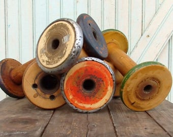"""SALE Today Rustic Vintage Old Chippy Paint 8 1/2 9 1/2"""" Wooden Textile Mill Spool Shabby Hygge Organize Ribbons and Trims with Wood Bobbin S"""