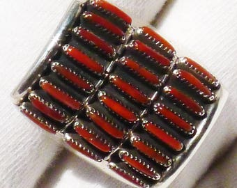 Zuni Sterling Silver Three Row Needlepoint Coral Ring