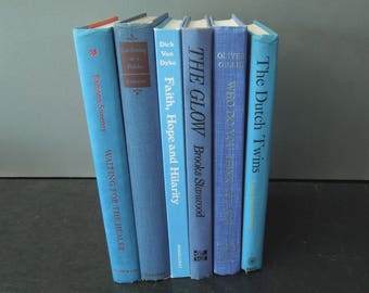 Blue Books for Decor - Books by Color - Vintage Home Staging - Wedding Centerpiece - Instant Library HGTV Interior Decor